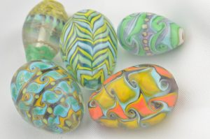 Hand made glass Easter eggs,