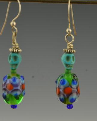 turquoise skull ,glass fiesta