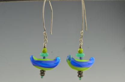 blue boat earrings