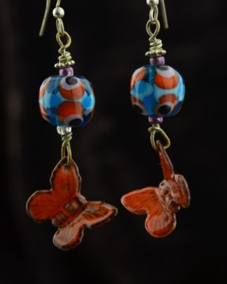 orange and Auqua Butterfy earrings