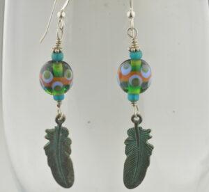 feather eye earrings