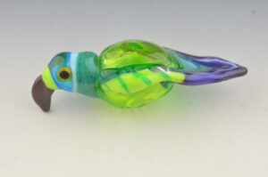 Tropical bird blown bead